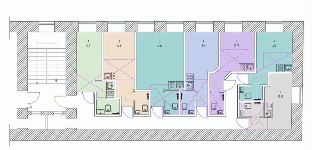 Планировки студий на Разъезжей улице